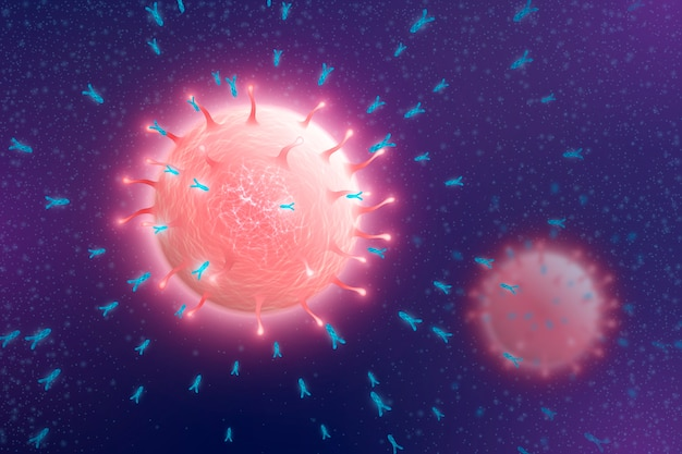 Virus particles interacting with antibody molecules