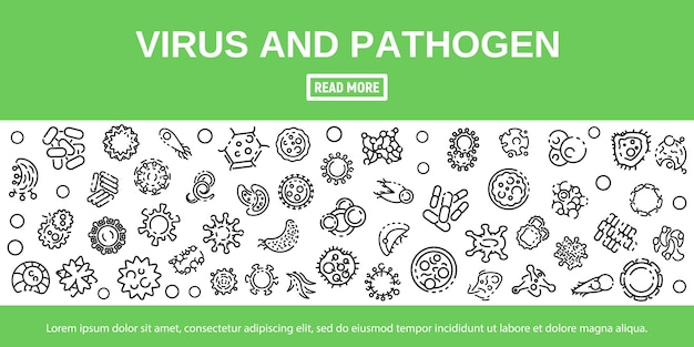 Virus and pathogen icon set in outline style