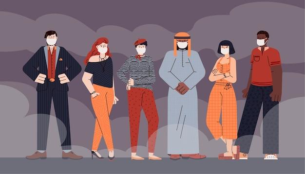 보호 마스크를 착용하는 사람들과 바이러스 예방 개념