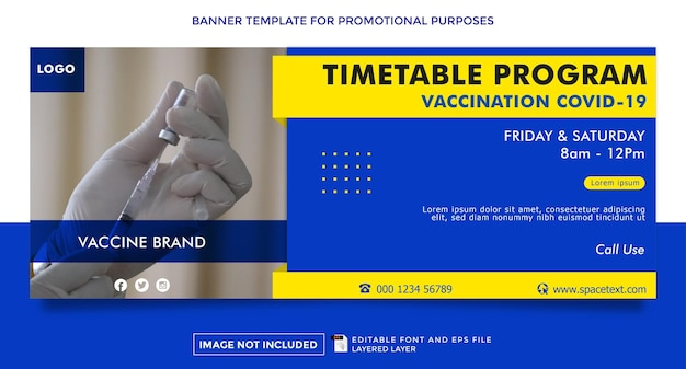 Virus prevention vaccination theme banner template