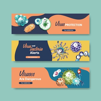 Virus protection banner templates in watercolor style