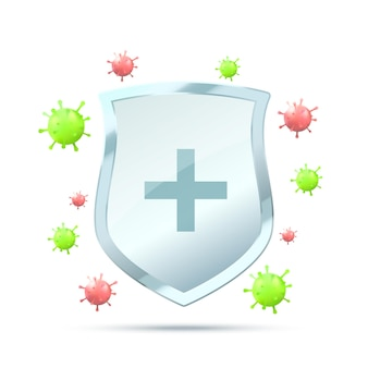 Virus protection concept security shield for virus protection vector shield on white background with red and green virus microorganism