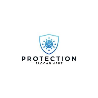 あなたの医療、健康、ケアビジネスのためのグラデーションカラーのウイルス対策ロゴデザイン