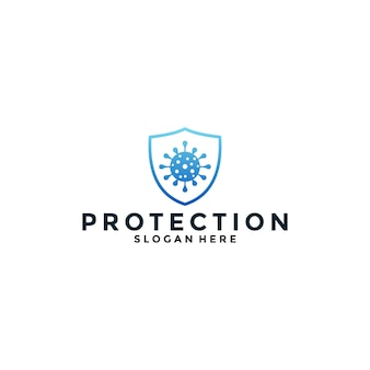 Virus protection logo design with gradient color for your medical, health, care business