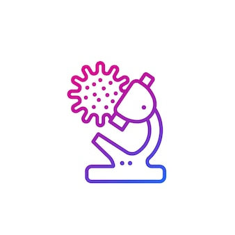 Virus research line icon with microscope