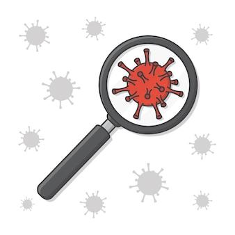 돋보기 벡터 아이콘 그림에서 연구하는 바이러스. 코로나바이러스 분자 평면 아이콘 위에 돋보기