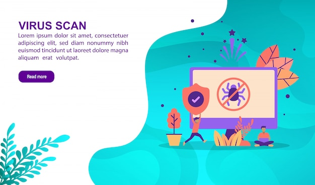 Virus scan illustration concept with character. landing page template