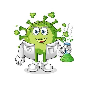 바이러스 과학자 캐릭터 흰색 절연