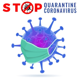 Virus strain with stop sign in medical mask quarantine