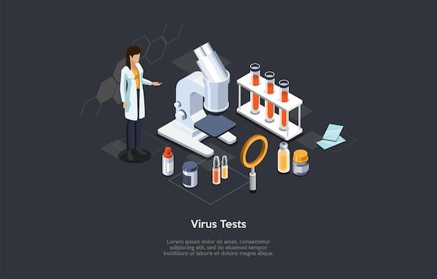 바이러스 테스트, 의약품 개발, 미생물학 실험실 개념 설명. 문자 및 개체, 만화 3d 스타일 아이소메트릭 벡터 구성. 의료 종사자, 현미경, 시약.