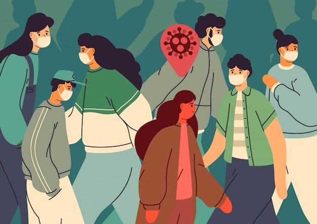 ウイルス感染。健康な人の中で感染した人。フェイスマスクの男性と女性の群衆。コロナウイルスの蔓延防止。病気の汚染の概念。イラストフラット漫画のスタイル。