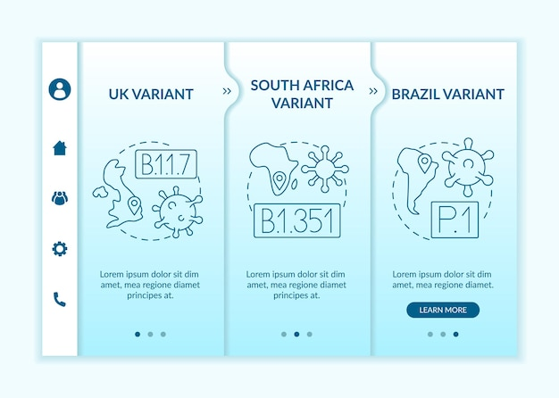 바이러스 유형 온보딩 벡터 템플릿입니다. 아이콘이 있는 반응형 모바일 웹사이트입니다. 웹 페이지 연습 3단계 화면. 선형 삽화가 포함된 새로운 돌연변이 남아프리카 변형 색상 개념