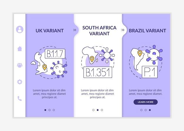 바이러스 유형 온보딩 벡터 템플릿입니다. 아이콘이 있는 반응형 모바일 웹사이트입니다. 웹 페이지 연습 3단계 화면. 선형 삽화가 포함된 새로운 영국 변형 색상 개념