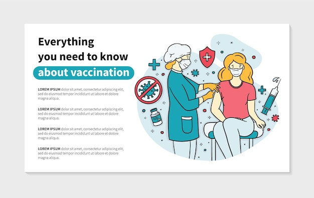 Virus vaccination banner with doctor and patient