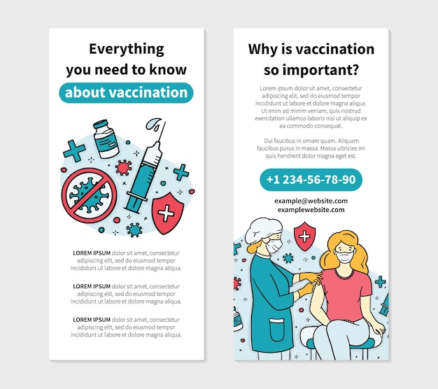 Virus vaccination flyer template in doodle style