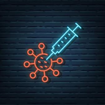 Virus vaccine neon sign vector elements
