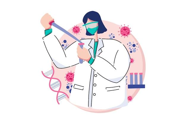 Virus vaccine researcher web illustration
