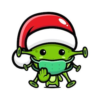 바이러스 중지 바이러스 포즈와 산타 모자를 쓰고 바이러스