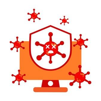 コンピューターとシールドのイラストデザインでウイルス。パンデミックウイルス対策の図。ウイルスイラストデザイン。白い背景に