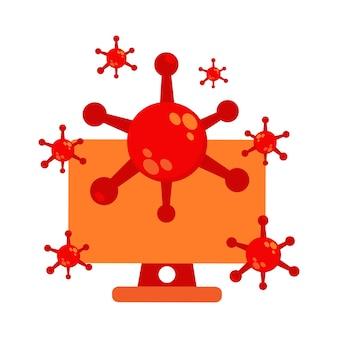 コンピュータイラストデザインのウイルス。パンデミックウイルスのイラスト。ウイルスイラストデザイン。白い背景に