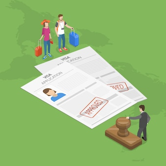Visa application flat isometric concept.