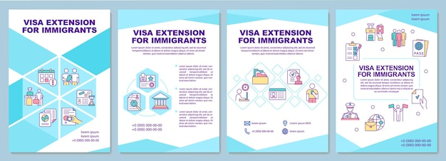 Visa extension for immigrants brochure template. flyer, booklet, leaflet print, cover design with linear icons. vector layouts for presentation, annual reports, advertisement pages