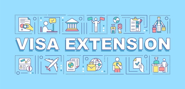 Visa extension word concepts banner. entry permission approval. infographics with linear icons on turquoise background. isolated creative typography. vector outline color illustration with text