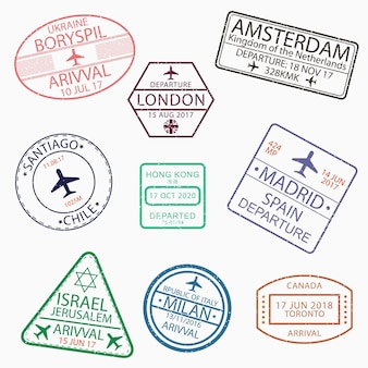 Visa passport stamps for travel to canada ukraine netherlands great britain chile hong kong