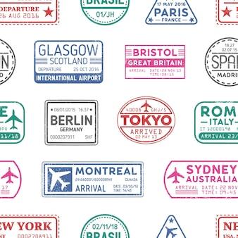 Визовые марки бесшовный фон