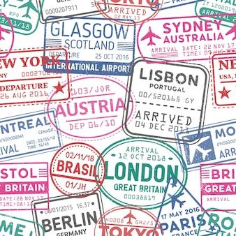 비자 스탬프 벡터 완벽 한 패턴입니다. 오스트리아, 글래스고, 런던, 브라질, 시드니 다채로운 우표 배경. 방문한 국가와 영토, 여행 질감. 벽지, 포장지 디자인 아이디어.