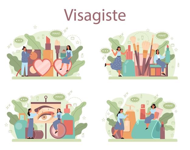 Visagisteコンセプトセット。ビューティーセンターサービスコンセプト。顔に化粧品を塗る女性。メイクアップアーティスト。