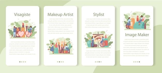 Visagisteモバイルアプリケーションバナーセット。ビューティーセンターサービスコンセプト。顔に化粧品を塗る女性。メイクアップアーティスト。