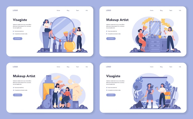Visagiste web banner or landing page set