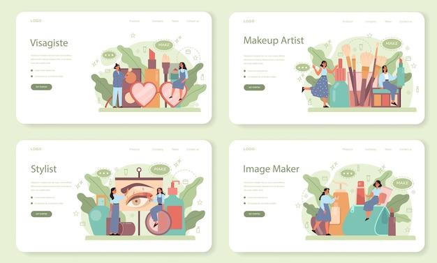 Visagistewebバナーまたはランディングページセット。ビューティーセンターサービスコンセプト。顔に化粧品を塗る女性。メイクアップアーティスト。