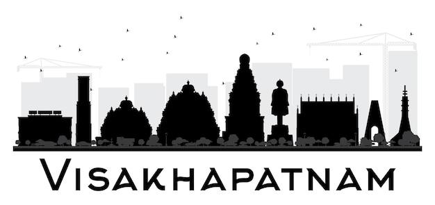 Черно-белый силуэт горизонта города вишакхапатнам. простая плоская концепция для туристической презентации, баннера, плаката или веб-сайта. городской пейзаж с достопримечательностями.