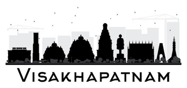 Visakhapatnam city skyline black and white silhouette. simple flat concept for tourism presentation, banner, placard or web site. cityscape with landmarks.