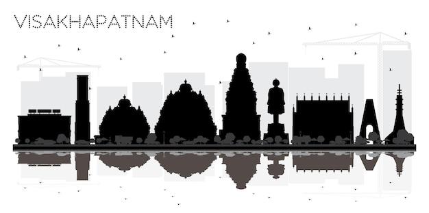 反射とvisakhapatnamインドの街のスカイラインの黒と白のシルエット。観光プレゼンテーション、バナー、プラカードまたはwebサイトのシンプルなフラットコンセプト。ランドマークのあるビシャカパトナムの街並み。
