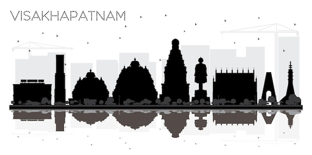 Visakhapatnam india city skyline black and white silhouette with reflections. simple flat concept for tourism presentation, banner, placard or web site. visakhapatnam cityscape with landmarks.