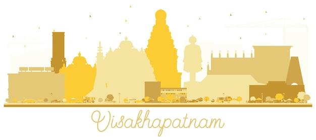 ヴィシャカパトナムインドの街のスカイラインの黄金のシルエット。観光プレゼンテーション、バナー、プラカードまたはwebサイトのシンプルなフラットコンセプト。ランドマークのあるビシャカパトナムの街並み。