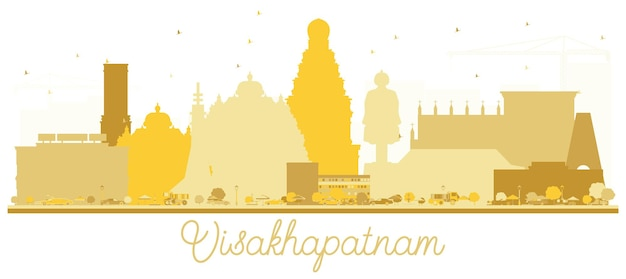 Visakhapatnam india city skyline golden silhouette. simple flat concept for tourism presentation, banner, placard or web site. visakhapatnam cityscape with landmarks.