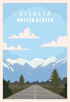バイセイリア、アメリカの都市のレトロなポスター。