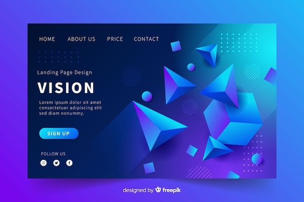 Vision 3d geometric landing page