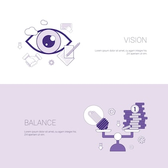 Vision and balance business concept template web banner with copy space