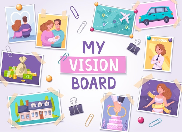 Vision  board  cartoon illustration  with  travel  and  family  symbols
