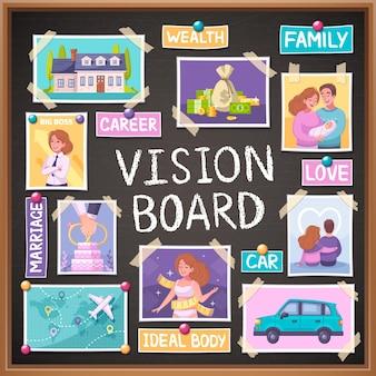 Pianificatore di cartoni animati per lavagna visiva con simboli di matrimonio e famiglia