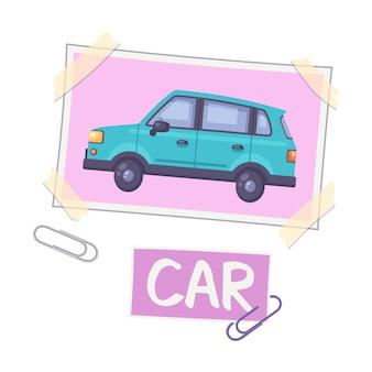 핀과 텍스트 삽화가 있는 자동차 사진이 있는 비전 보드 구성