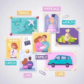 富と旅行のシンボルとビジョンボードプランナー漫画の概念