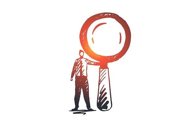 Видение, бизнес, ищу, корпоративное, концепция планирования. ручной обращается бизнесмен с эскизом концепции увеличительного стекла.