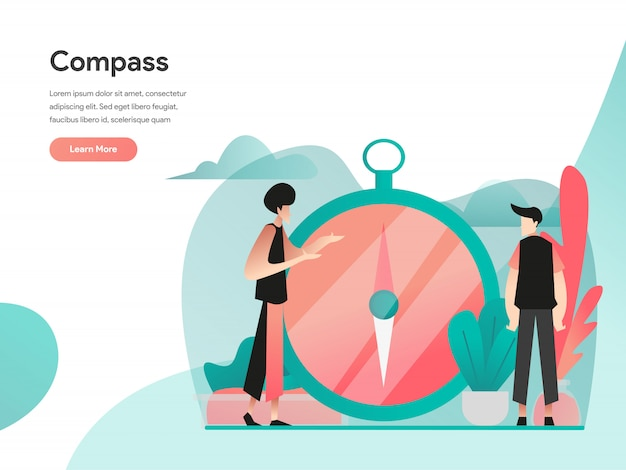 Vision and compass illustration concept
