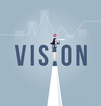 Vision concept in business with icon of businesswoman and telescope.